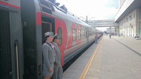Train awaiting departure on the Trans-Siberian railway