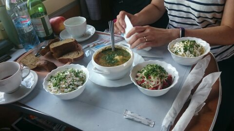 Dinner along the Trans-Siberian railway