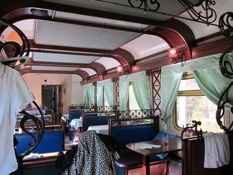 Dining car on Trans-Siberian train 4, Russia