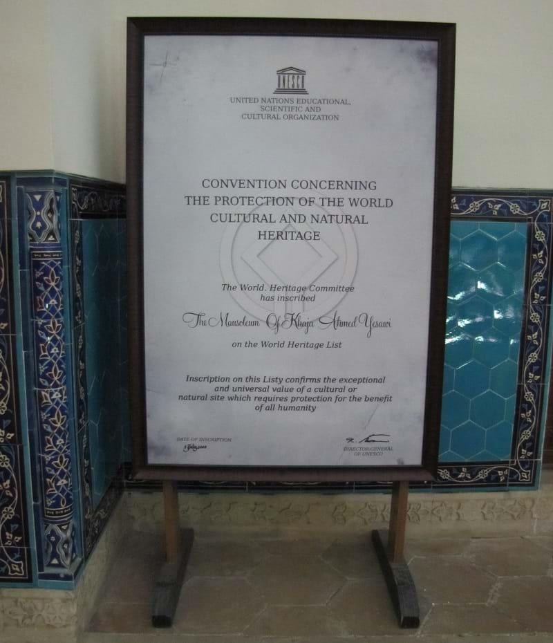 UNESCO Sign at the Mausoleum of Khoja Ahmed Yasawi