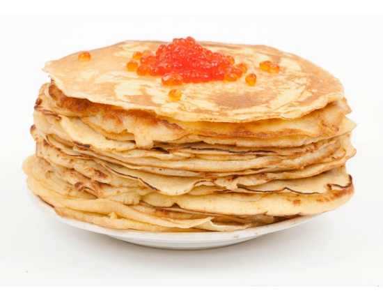 Blinis with red caviar