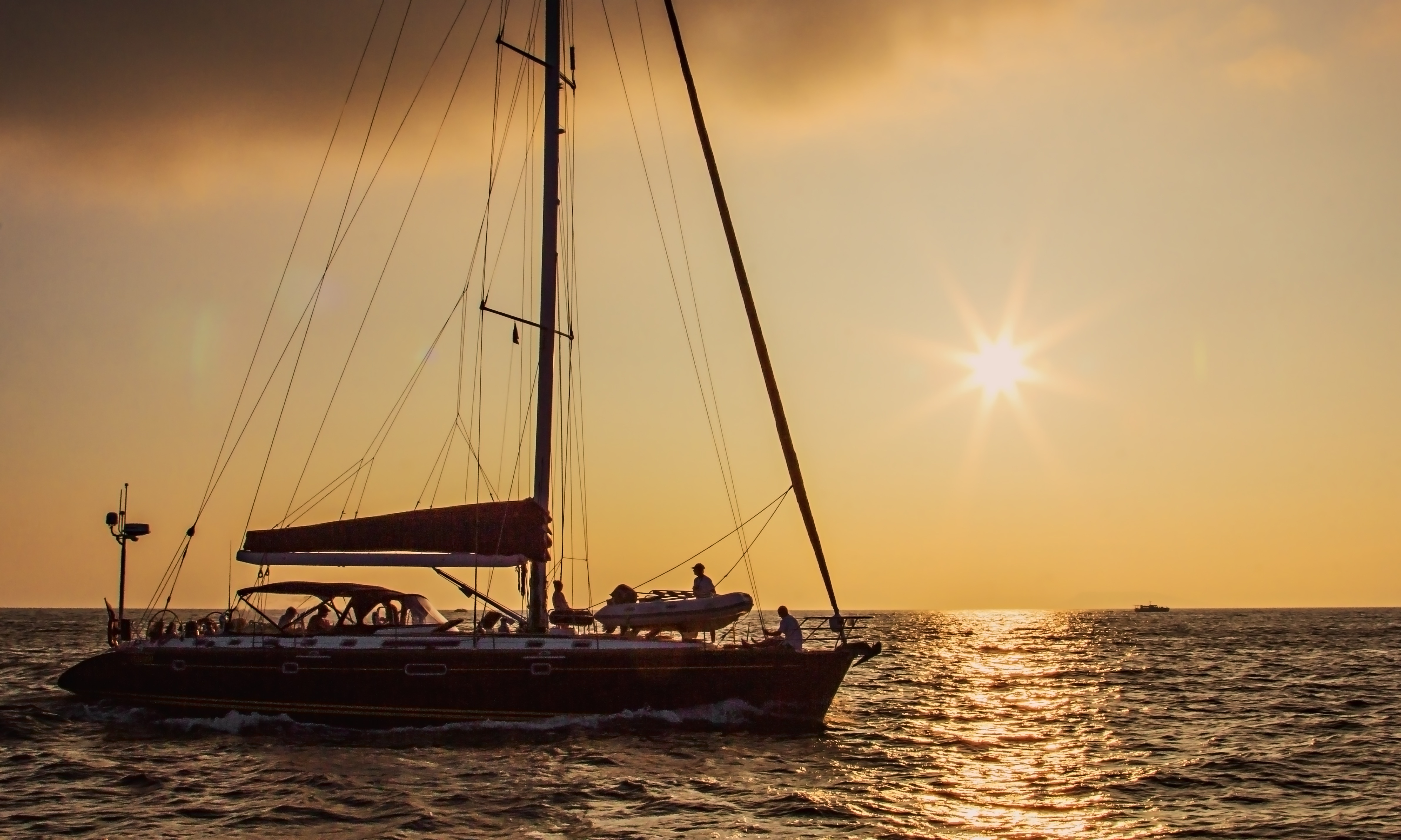 Yacht against the sunset in Amur Bay