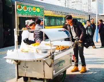 Food vendors on the Trans-Siberian railway