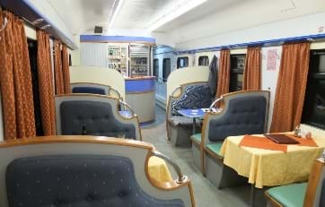 Restaurant carriage on train 20 of the Trains-Siberian railway