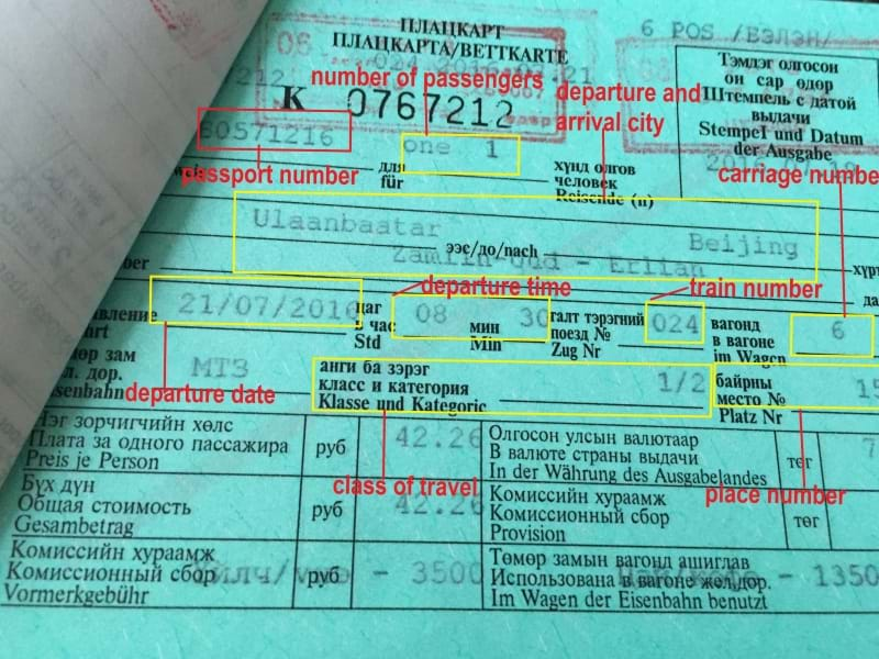 Mongolian International Train Ticket