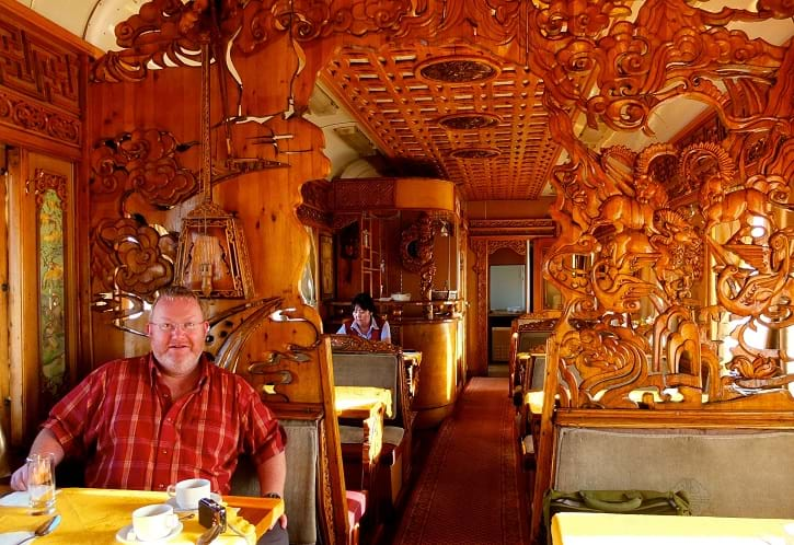 A Mongolian dining car on the Trans-Mongolian railway, Mongolia