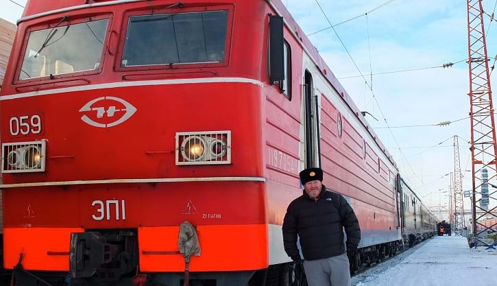 Matthew Woodward with a Trans-Siberian train