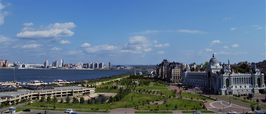 The city of Kazan as viewed from the Kazan Kremlin