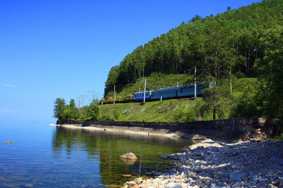 Railway alongside Lake Baikal