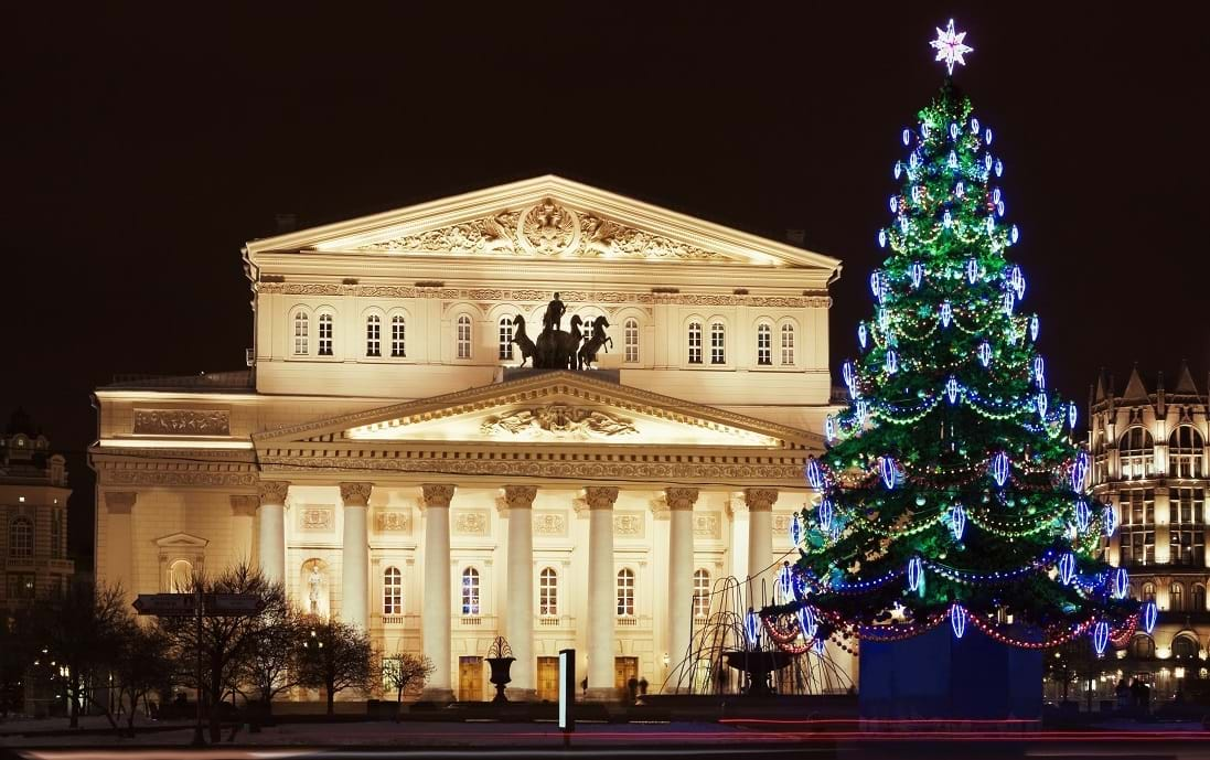 Winter at the Bolshoi Theatre, Moscow, Russia