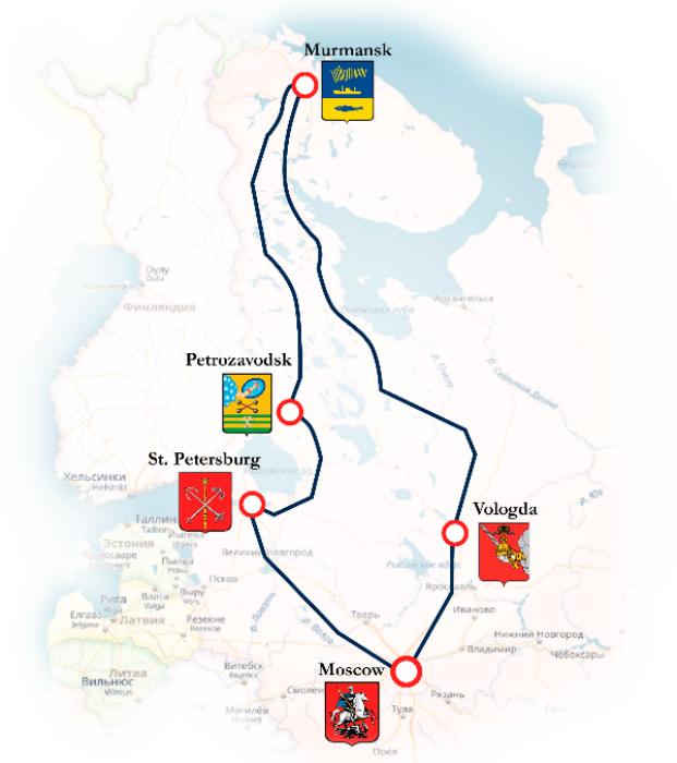 Arctic Circle Russia Map.Imperial Russia Arctic Circle Winter Tour New Year Russian