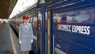 Express train carriage with attendant