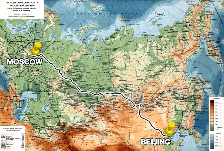 Route from moscow to Beijing